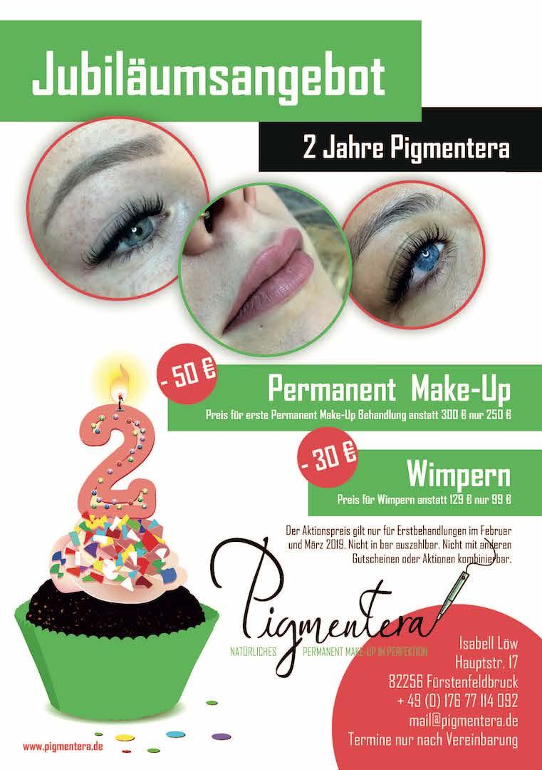 Jubiläumsangebot Permanent Make-up Wimpernverlängerung 2019